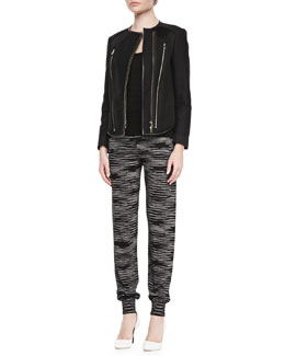 Zipper Leather-Trim Jacket, Zigzag Tank & Double-Knit Space Dye Pants