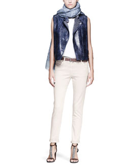 Brunello Cucinelli Python Moto Vest, Monili-Shoulder Top, Garment-Dyed Jeans, Printed Scarf & Leather Belt