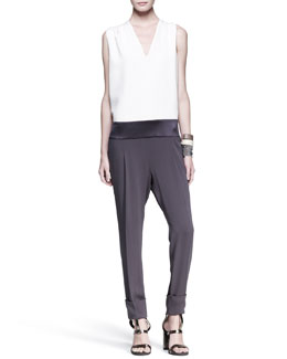Brunello Cucinelli Tricolor Drop-Waist Jumpsuit, Slim Leather Cuffs & Multi-Strand Cuff