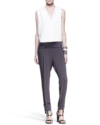 Tricolor Drop-Waist Jumpsuit, Slim Leather Cuffs & Multi-Strand Cuff