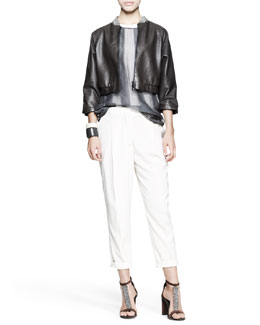 Brunello Cucinelli Cropped Leather Jacket, Sheer Striped Top, Tapered Pleated Pants & Leather Cuffs