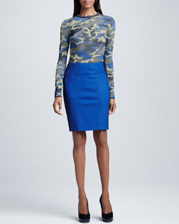 M Missoni Camouflage Long-Sleeve Top & Pique Pencil Skirt