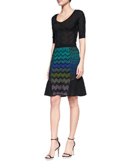 M Missoni Half-Sleeve Zigzag Striped Sweater & Zigzag Mix-Patterned Flutter Skirt