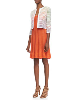 M Missoni Degrade Grid Stitch Cardigan & Sleeveless Knit Flutter Dress
