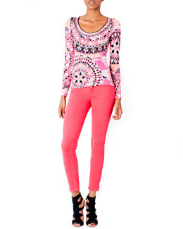 Emilio Pucci Printed Scoop-Neck Top & Zipper-Cuff Skinny Jeans