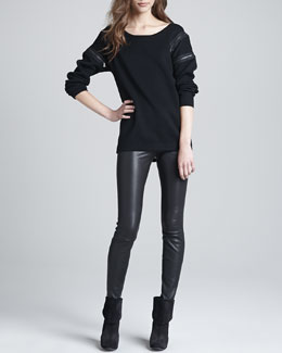 J Brand Ready to Wear Signe Zip-Detail Sweater & Claudette Leather Pants