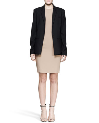 Oversized Open-Front Blazer and Exposed-Dart Sheath Dress