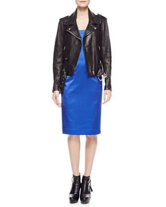 Long-Sleeve Leather Moto Jacket & Spaghetti-Strap Satin Dress