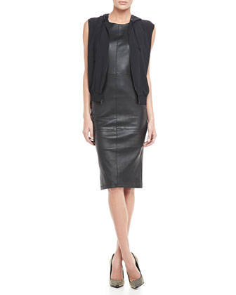 Suzie Hooded Jersey Vest & Delon Fitted Leather Dress