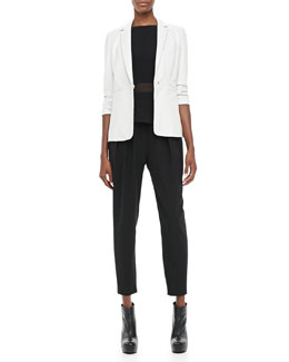 Elizabeth and James James Leather Blazer, Theia Sheer-Waist Tank & Darcy Pleated Relaxed Pants