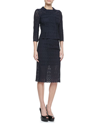 3/4-Sleeve Eyelet Jacket & Pencil Skirt