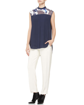 Embellished-Yoke Top & Tuxedo Pants with Stripe