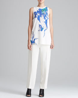 3.1 Phillip Lim Printed Muscle Tank & Tuxedo Pants with Stripe