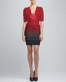Herve Leger Bandage-Trim Shrug & Ombre Cross-Neck Bandage Dress