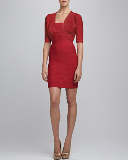 Herve Leger Bandage-Trim Shrug & Split-Strap Bandage Dress