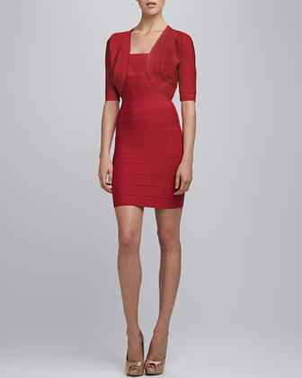 Bandage-Trim Shrug & Split-Strap Bandage Dress