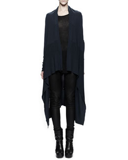 Rick Owens Long Knit Wrap & Pull-On Leather Leggings