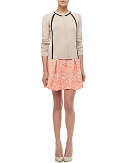 Nanette Lepore Fiesta Contrast Long-Sleeve Cardigan & Wildcat Tribal-Print Pleated Peplum Skirt