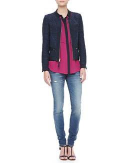 MARC by Marc Jacobs Cacey Tweed Jacket, Horizon Georgette Tank & Gaia Super Skinny Jeans