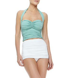 Bill Ruched Halter Top & High-Rise  Swim Bottom