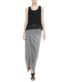 Alice + Olivia Double-Layer Sleeveless Top & Kay Ruched Slub Maxi Skirt