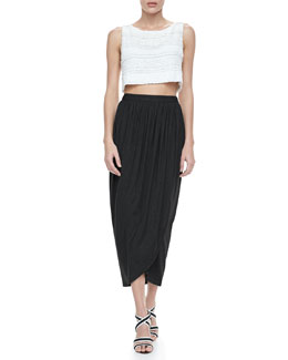 Alice + Olivia Cropped Tiered Lace Tank & Tulip Draped Crepe Midi Skirt