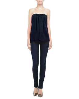 Alice + Olivia Kenley Strapless Silk Top & Two-Button Dark Skinny Jeans