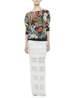 Alice + Olivia Floral-Print Silk Sweatshirt & Ettley Tiered Lace Maxi Skirt