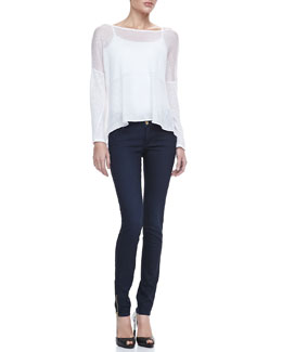 Alice + Olivia Kerr Sheer Linen Sweater & Two-Button Dark Skinny Jeans