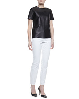 Elie Tahari Sandra Leather Short-Sleeve Cutout Blouse & Deidre Slim-Leg Jeans