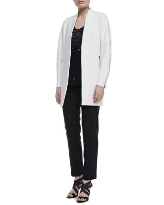 Leann Long Zipper Coat, Angelica Embellished Knit Tank & Jillian Slim Ankle Pants