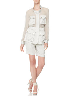 Jason Wu Sheer-Panel Crepe Utility Jacket & Belted Shorts