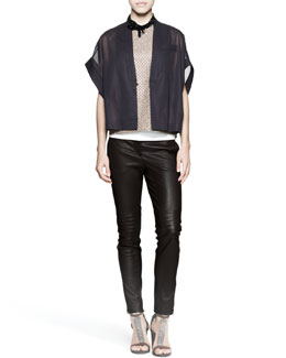 Brunello Cucinelli Kimono Jacket, Sequin-Front Top, Sleeveless Top, Knee-Patch Pants, Necklace & Fedora