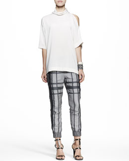 Brunello Cucinelli Cutout-Shoulder Top, Tartan Cuffed Pants & Slim Leather Cuffs