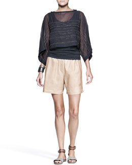 Brunello Cucinelli Monili-Stripe Crop-Top, Nappa Midi Shorts & Leather Cuffs