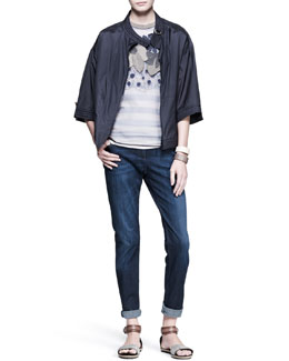 Brunello Cucinelli Funnel-Sleeve Jacket, Ikibana Striped Tee, Five-Pocket Jeans & Leather Cuffs