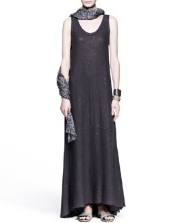 Brunello Cucinelli Paillette Knit Maxi Dress, Hibiscus-Print Scarf & Leather Cuffs