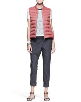 Brunello Cucinelli Shirt-Back Puffer Vest, Monili-Circle Top, Asymmetric-Wrap Pants & Leather Cuffs