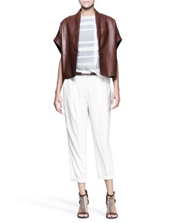 Brunello Cucinelli Leather Kimono-Sleeve Jacket, Sheer Tartan Top & Tapered Pleated Pants