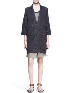 Brunello Cucinelli Paillette-Knit Zip Cardigan and Sleeveless Drop-Waist Dress