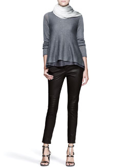 Brunello Cucinelli Paillette Trapeze Pullover, Leather Knee-Patch Pants and Boiled Ombre Scarf