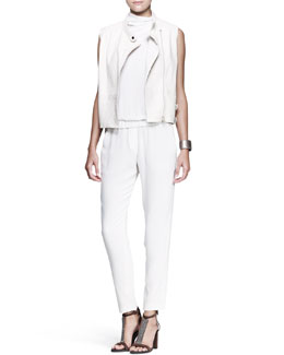 Brunello Cucinelli Ostrich Biker Vest, Mock-Neck Jumpsuit & Metallic Leather Cuff