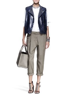 Brunello Cucinelli Python Moto Vest, Monili-Collar Blouse, Slouchy Pleat Pants & Cuffs