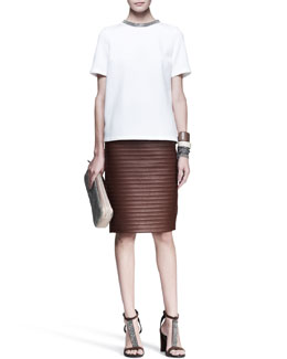 Brunello Cucinelli Monili-Neck Top, Ridged Leather Skirt, Knot Fedora & Cuffs