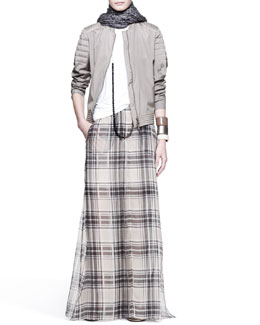 Brunello Cucinelli Quilted-Shoulder Jacket, Sleeveless Top, Tartan Maxi Skirt, Printed Scarf, Long Necklace & Leather Cuffs