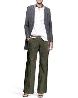 Brunello Cucinelli Monili-Collar Jacket, Textured-Sleeve Shirt, Wide-Leg Pants, Leather Belt & Smoky Quartz Necklace