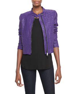 Milly Metallic Tweed Motorcycle Jacket & Stud-Shoulder Jersey Tee