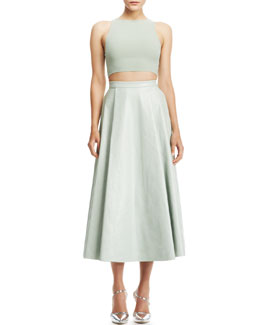 Alice + Olivia Silk/Lace Crop Top & Daven Long Leather Skirt
