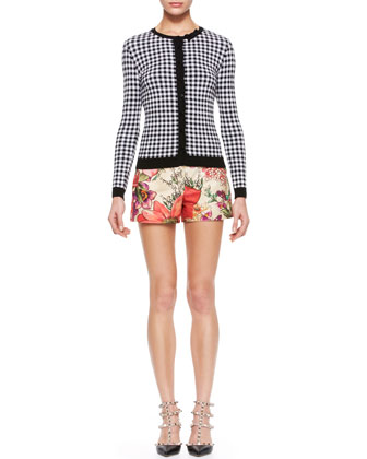 Gingham Knit Cardigan & Flower-Print Shorts