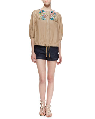Shiny Napa Leather Jacket with Flower Appliques & Bow-Tied Denim Shorts